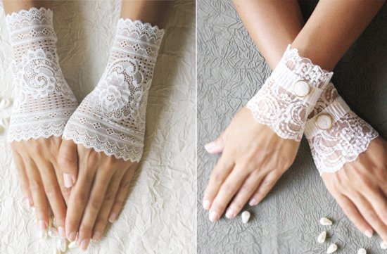 Handmade Weddings How to style a romantic winter wedding lace gloves