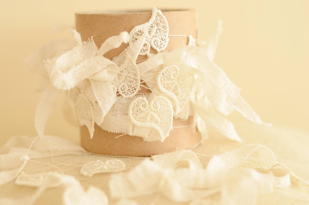 Handmade Weddings How to style a romantic winter wedding lace heart garland