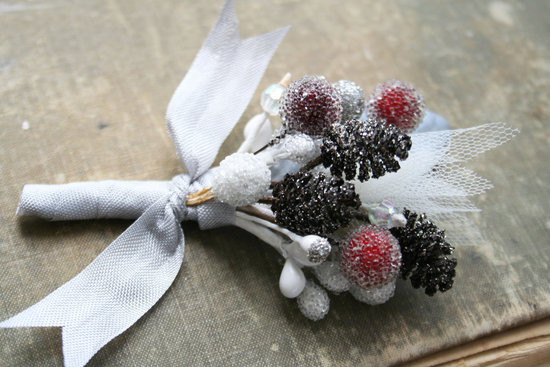 Handmade Weddings How to style a romantic winter wedding berry boutonniere