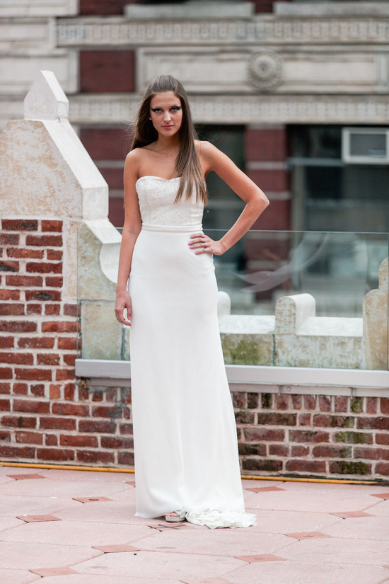 Fall 2013 wedding dress by Anne Bowen modified a line