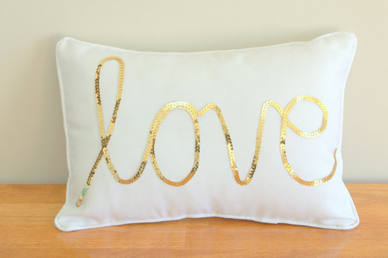 wedding accessories bridal style inspiration sequin LOVE pillow
