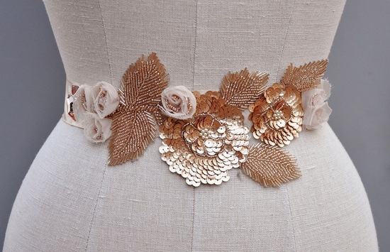 wedding accessories bridal style inspiration sequin rose gold belt