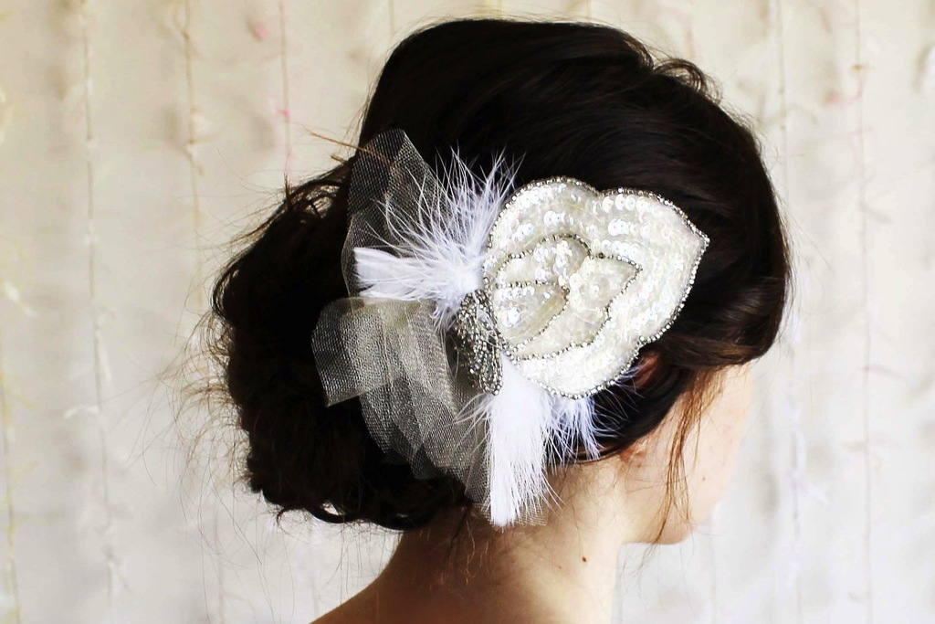 wedding accessories bridal style inspiration sequin fascinator