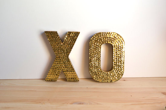 wedding accessories bridal style inspiration sequin gold XO signs