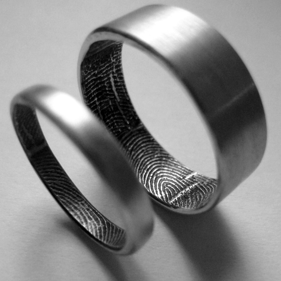 photo of Fingerprint Inside Personal Wedding Rings, $440 via The Fancy