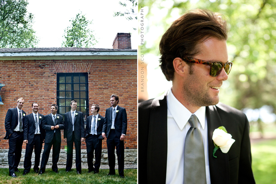 cool groom wears black suite ray ban sunglasses grey tie groomsmen best man pose