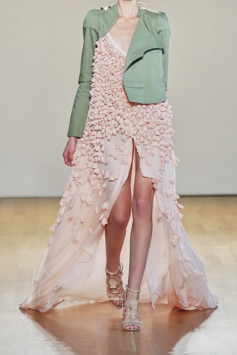 Pink-wedding-dress-with-green-jacket.full