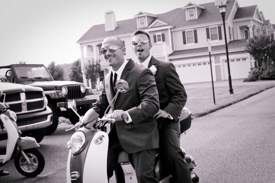 Beach Wedding in Delaware cool groom groomsmen transportation