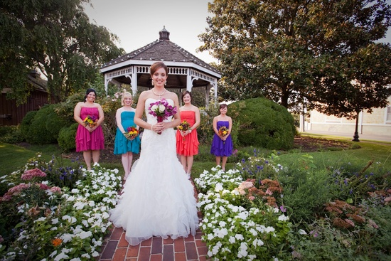 Outdoor Wedding in Delaware Mix and Match Bridesmaids 1