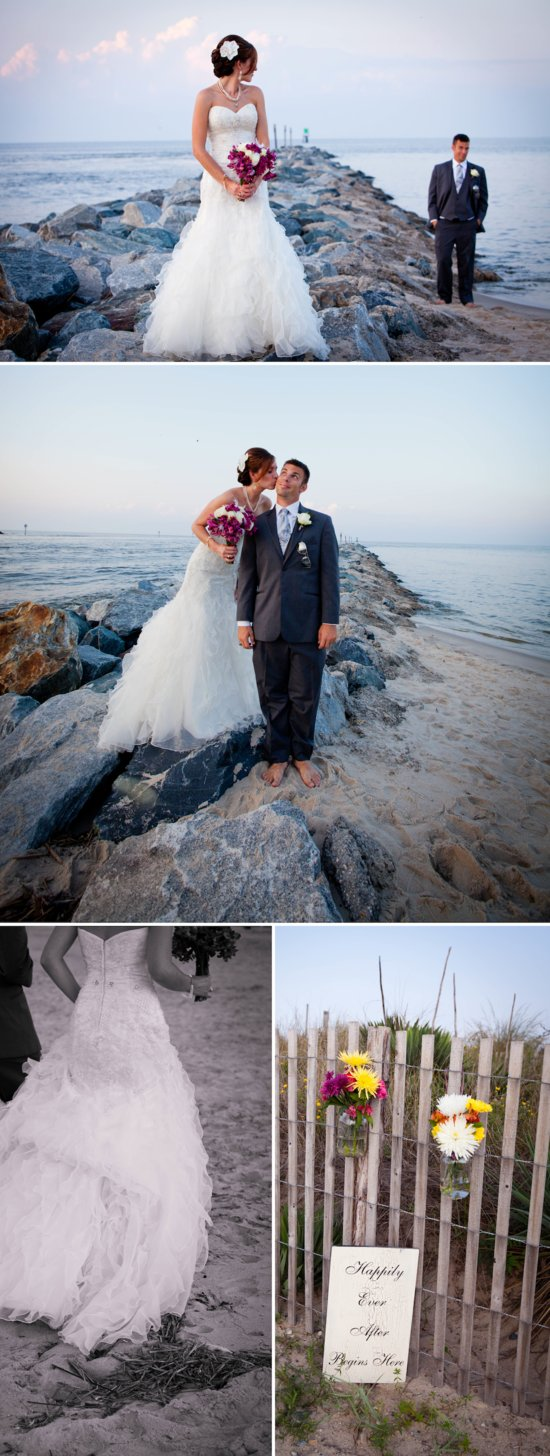 Romantic Beach Wedding in Delaware - Bride and Groom Portraits