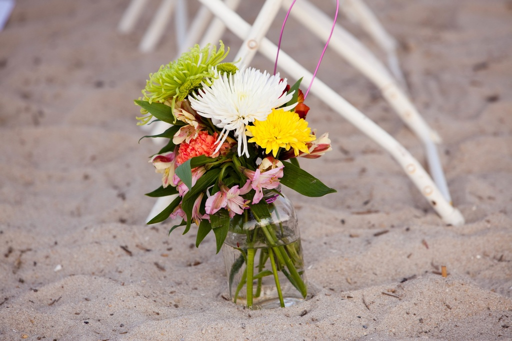 Delaware Beach Wedding simple elegant ceremony flowers