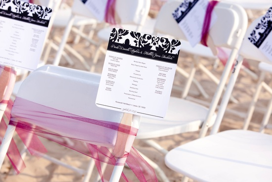 beach wedding with DIY decor ceremony chairs