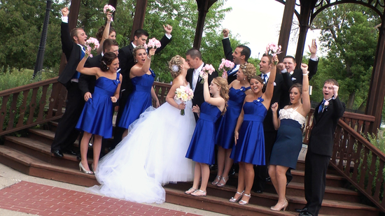 Bridal Party Kiss and Shout