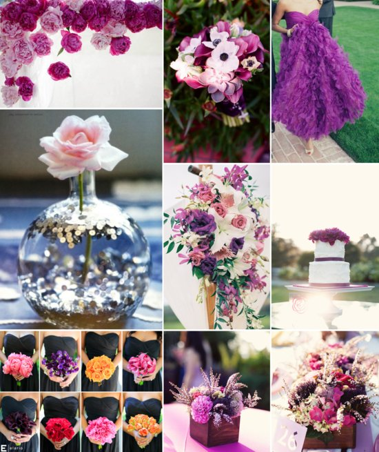 orchid purple wedding color inspiration bright bridesmaid bouquets