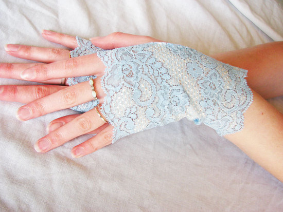 Wedding Inspiration Planning by Color Pale Light Blue lace gloves