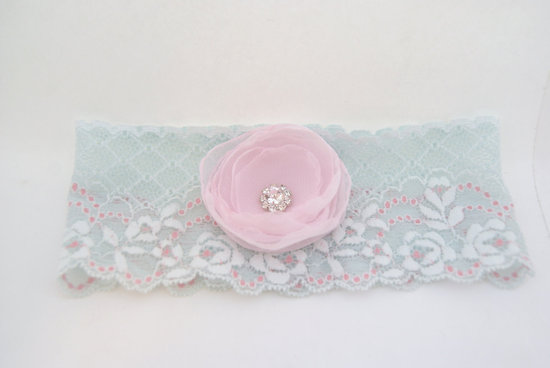 Wedding Inspiration Planning by Color Pale Light Blue lace garter