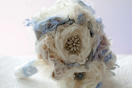 Wedding Inspiration Planning by Color Pale Light Blue fabric bouquet
