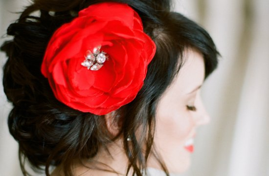 Racy Red Wedding Accessories handmade hair flower