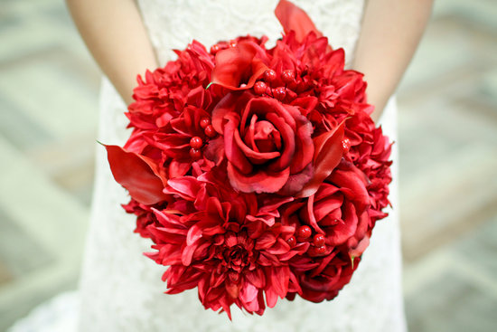 all red wedding bouquet handmade bridal accessories
