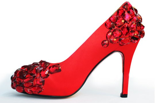 ruby red wedding shoes crystal encrusted