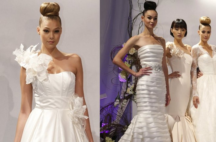 Fall 2013 Wedding Hair Trends from Bridal Market Dennis Basso Top Knot Buns