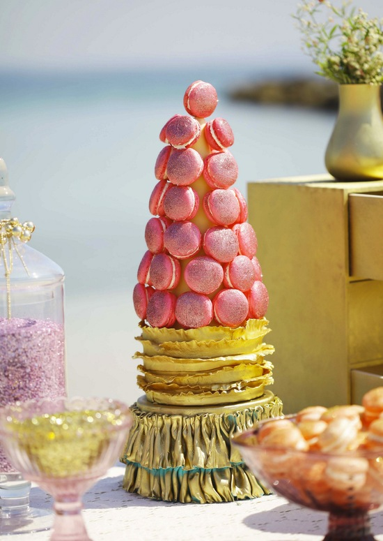 Glitter and gold macaron tower
