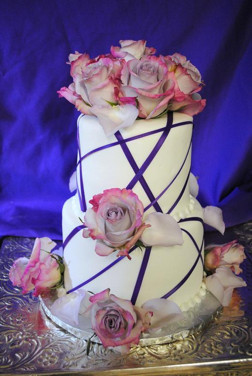 purple rose ribbon cake 2