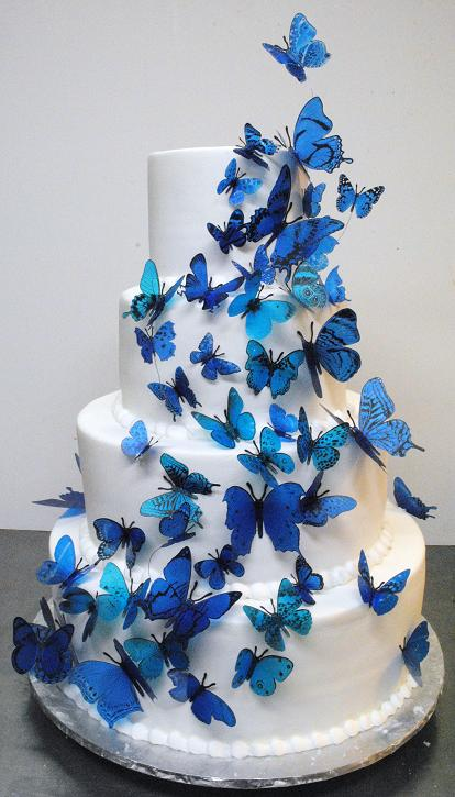Blue Butterfly cake | OneWed.com