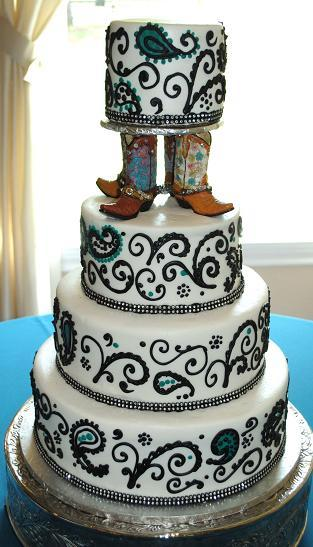 Paisley and turq boot cake - Copy