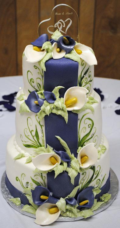 Calla lilly and fern cake - Copy - Copy