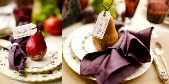 metallic wedding escort cards using fruit