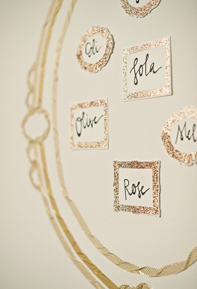 unique wedding escort cards DIY ideas metallic 1