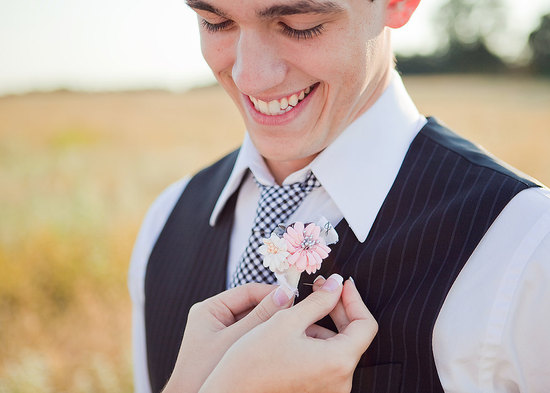 photo of Gingham Wedding Treasures for Country Chic Weddings grooms tie