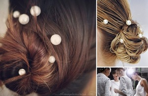 photo of wedding hair DIYs just in time for the holidays pearlized bun