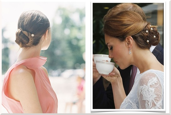 wedding hair DIYs just in time for the holidays chignon with pearls