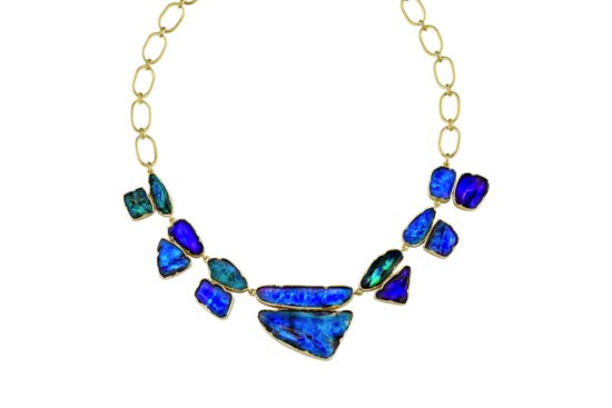 Something Blue Bridal Splurge wedding necklace opals gold