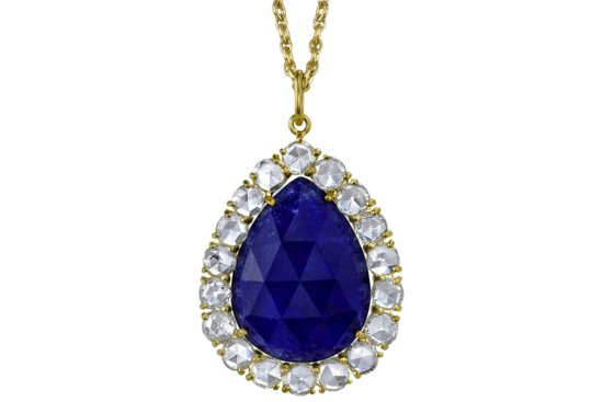 Something Blue Bridal Splurge wedding necklace teardrop sapphire