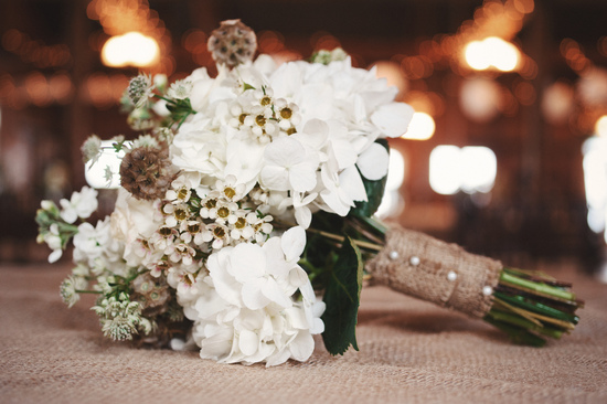 Bouquet on burlap