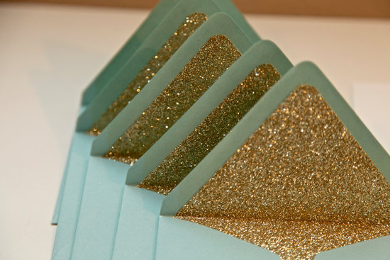 Glittery Gold Wedding Finds for Glam Handmade Weddings envelope liners