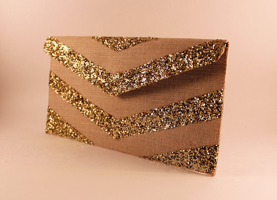 Glittery Gold Wedding Finds for Glam Handmade Weddings chevron clutch