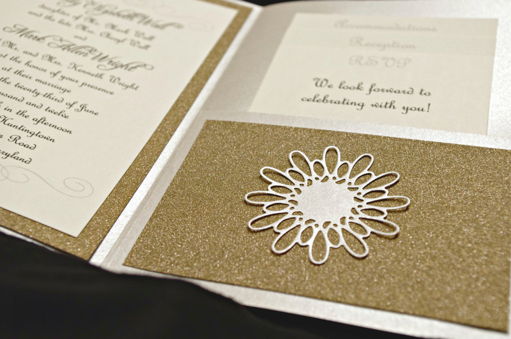 Glittery Gold Wedding Finds for Glam Handmade Weddings embellished invites