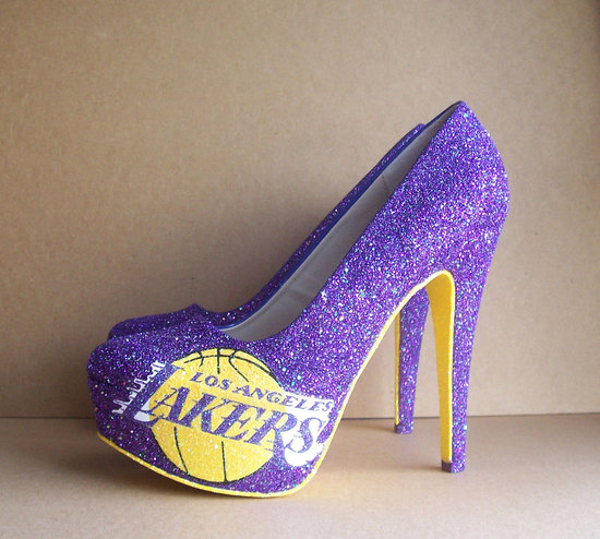 Funky Wedding Shoes for Sports Loving Brides LA Lakers