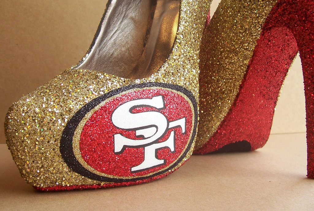 Funky Wedding Shoes for Sports Loving Brides 49ers red patent leather with gold