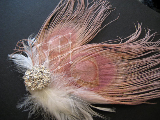photo of Dusty Pink Feather Headpiece from Etsy seller Exquisite Creations.
