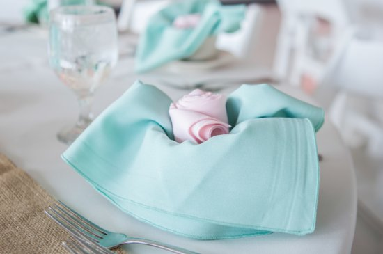 Clearwater FL wedding pastel aqua pink reception decor
