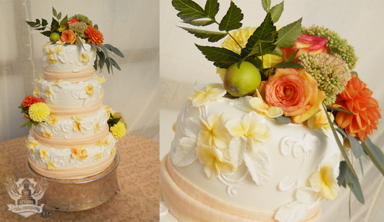 peach_yellow_wildflower_fruit_wedding_cake