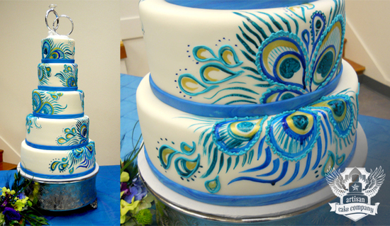 peacock_painted_wedding_cake