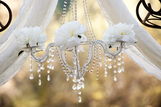 photo of Romantic Wedding Ideas We Love: Floral Chandeliers for the Reception