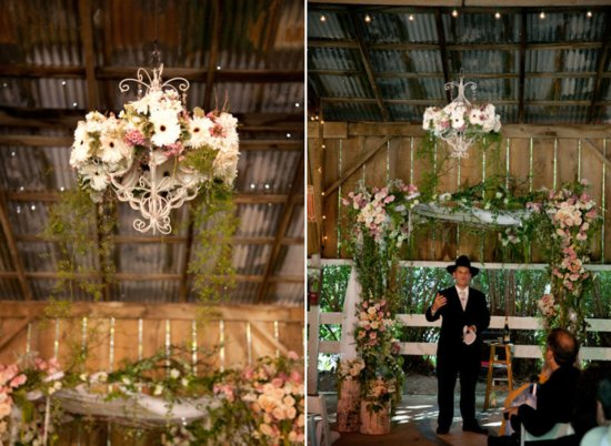 Rustic Barn Wedding Floral Chandelier