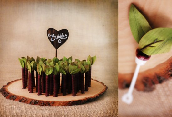 Woodland Wedding Decor and Reception Favors.